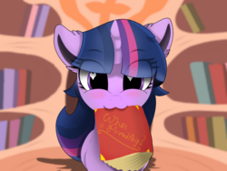 Size: 1280x960 | Tagged: safe, artist:kimspyr, twilight sparkle, pony, unicorn, :3, blushing, book, cute, ear fluff, eye clipping through hair, eyebrows visible through hair, female, golden oaks library, heart eyes, looking at you, mouth hold, solo, twiabetes, unicorn twilight, wingding eyes