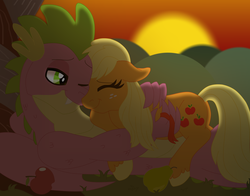 Size: 12446x9739 | Tagged: apple, applejack, applespike, artist:faitheverlasting, cute, dragon, female, floppy ears, food, hair ribbon, hatless, hug, jackabetes, loose hair, male, missing accessory, nuzzling, older, older spike, one eye closed, pony, safe, shipping, spikabetes, spike, straight, sunset, unshorn fetlocks, winged spike