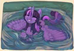 Size: 1162x811 | Tagged: safe, artist:wynnchi, twilight sparkle, alicorn, pony, cute, eyes closed, female, mare, smiling, solo, spread wings, twiabetes, twilight sparkle (alicorn), wet, wet mane, wings