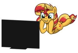 Size: 5000x3376   Tagged: safe, artist:mirrorcrescent, sunset shimmer, pony, unicorn, absurd resolution, atg 2019, female, mare, monitor, newbie artist training grounds, prone, screen, simple background, solo, transparent background, watching