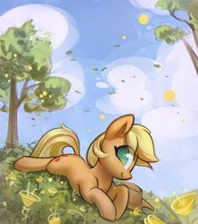 Size: 1500x1689 | Tagged: safe, artist:mirroredsea, applejack, earth pony, pony, applejack's hat, cowboy hat, cute, eye clipping through hair, female, flower, hat, jackabetes, looking at you, lying down, mare, no pupils, prone, scenery, smiling, solo, tree