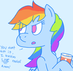 Size: 995x959 | Tagged: safe, artist:notawriteranon, rainbow dash, pegasus, pony, /mlp/, angry, eye clipping through hair, female, furrowed brow, looking sideways, mare, ravioli, simple background, solo, speech
