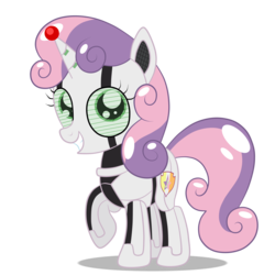 Size: 3000x3000 | Tagged: safe, artist:squipycheetah, sweetie belle, pony, robot, robot pony, unicorn, friendship is witchcraft, alternate cutie mark, cute, cutie mark, diasweetes, female, filly, happy, looking at you, raised hoof, simple background, smiling, solo, sweetie bot, the cmc's cutie marks, transparent background, unicorn protective device