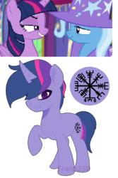 Size: 438x656 | Tagged: safe, artist:firefox238, trixie, twilight sparkle, oc, oc:lost legacy, alicorn, pony, no second prances, female, lesbian, magical lesbian spawn, offspring, parent:trixie, parent:twilight sparkle, parents:twixie, shipping, twilight sparkle (alicorn), twixie, vegvisir
