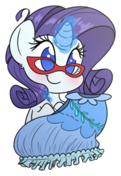 Size: 1296x1873 | Tagged: safe, artist:fluffyxai, rarity, pony, unicorn, chibi, clothes, cute, dress, female, glasses, glowing horn, horn, magic, mare, needle, raribetes, rarity's glasses, sewing, simple background, smiling, solo, transparent background