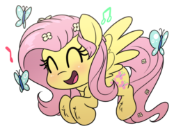 Size: 1893x1431 | Tagged: safe, artist:fluffyxai, fluttershy, butterfly, pegasus, pony, chibi, cute, eyes closed, female, happy, mare, music notes, open mouth, shyabetes, simple background, singing, smiling, solo, transparent background