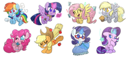 Size: 7530x3500 | Tagged: alicorn, apple, applejack, artist:fluffyxai, book, bubble, butterfly, chibi, clothes, cloud, cupcake, derpy hooves, dress, earth pony, fluttershy, flying, food, glasses, jewelry, magic, mane six, muffin, music notes, owlowiscious, pegasus, pendant, pinkie pie, pony, rainbow dash, rarity, rarity's glasses, safe, sewing, simple background, singing, smiling, starlight glimmer, sticker set, transparent background, twilight sparkle, twilight sparkle (alicorn), unicorn