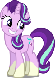 Size: 608x861 | Tagged: safe, artist:davidsfire, edit, editor:slayerbvc, vector edit, starlight glimmer, pony, unicorn, cute, female, glim glam, glimmerbetes, grin, mare, ponies wearing sunburst's socks, simple background, smiling, socks (coat marking), solo, transparent background, vector