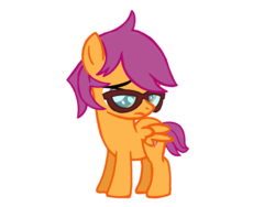 Size: 1024x768 | Tagged: safe, artist:turnaboutart, scootaloo, pegasus, pony, base used, colt, cutie mark, female, filly, glasses, looking down, male, rule 63, sad, scooteroll, simple background, the cmc's cutie marks, transparent background