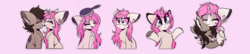 Size: 1453x316 | Tagged: artist:hagallaz, blushing, brush, brushie, chest fluff, classical unicorn, cloven hooves, couple, cuddling, cute, ear piercing, female, floppy ears, fluffy, happy, hmph, hug, interspecies, kissing, leonine tail, love, male, mare, oc, oc only, oc:tarot, oc x oc, oc:xor, piercing, pony, romantic, safe, shipping, shrug, simple background, smiling, smooch, snuggling, sphinx, sphinx oc, sticker, straight, taror, unicorn, unshorn fetlocks, wings