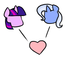 Size: 320x296 | Tagged: artist:strebiskunk, cropped, female, lesbian, safe, shipping, trixie, twilight sparkle, twixie