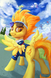 Size: 3716x5669 | Tagged: safe, artist:gingerady, cloudchaser, spitfire, sunshower raindrops, pegasus, pony, absurd resolution, butt, captain, clothes, cutie mark, female, mare, plot, scenery, smiling, solo focus, sunglasses
