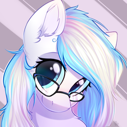 Size: 1000x1000   Tagged: safe, artist:alphadesu, oc, oc only, oc:contrail skies, pegasus, pony, bust, female, glasses, mare, portrait, solo