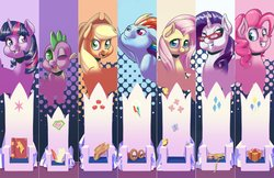 Size: 2550x1650 | Tagged: safe, artist:princrim, applejack, fluttershy, pinkie pie, rainbow dash, rarity, spike, twilight sparkle, alicorn, butterfly, dragon, earth pony, pegasus, pony, unicorn, applejack's hat, book, cowboy hat, cutie mark, end of ponies, farewell, female, friendship throne, glasses, goggles, hat, male, mane seven, mane six, mare, measuring tape, one eye closed, open mouth, present, quill, rarity's glasses, rest in peace, scroll, smiling, superman, the end, the end is neigh, throne, twilight sparkle (alicorn), wink