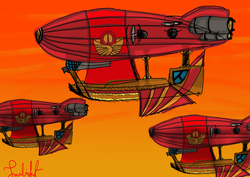 Size: 4961x3508 | Tagged: airship, artist:twilighlot, pony, safe, solar empire, zeppelin