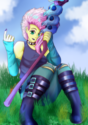 Size: 2480x3508 | Tagged: safe, artist:mantarwolf, fluttershy, equestria girls, equestria girls series, the road less scheduled, the road less scheduled: fluttershy, spoiler:choose your own ending (season 2), spoiler:eqg series (season 2), alternate hairstyle, arm warmers, black lipstick, boots, choker, clothes, crystal skull staff, eyeshadow, female, flutterpunk, lipstick, looking at you, makeup, nail polish, ripped jeans, shoes, short hair, sitting, solo, spiked choker, staff, tanktop