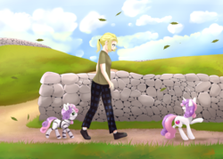 Size: 3500x2500 | Tagged: safe, artist:nihithebrony, sweetie belle, human, pony, robot, robot pony, unicorn, agender, anxious, blonde, blonde hair, clothes, cloud, cloudy, commission, cute, cutie mark, day, duality, female, grass field, leaves, mare, pajamas, path, ponytail, shoes, sky, stone, sweetie bot, wall