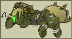 Size: 1400x750 | Tagged: safe, artist:crimmharmony, oc, oc only, oc:murky, pegasus, pony, fallout equestria, fallout equestria: murky number seven, bandage, clothes, dirty, eyes closed, fanfic art, glasses, male, music notes, pipbuck, scar, shirt, side, simple background, solo, stallion, sunglasses