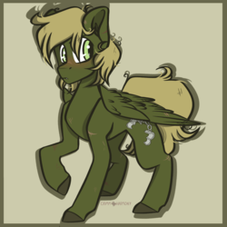 Size: 1050x1050 | Tagged: safe, artist:crimmharmony, oc, oc only, oc:murky, pegasus, pony, fallout equestria, fallout equestria: murky number seven, fanfic art, looking back, male, scar, simple background, solo, stallion, standing