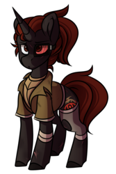 Size: 700x1050 | Tagged: artist:crimmharmony, bandage, clothes, duster, fallout equestria, fallout equestria: murky number seven, fanfic art, male, oc, oc only, oc:protege, pony, safe, scar, simple background, solo, stallion, standing, transparent background, unicorn, vest