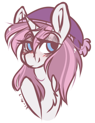 Size: 675x875 | Tagged: safe, artist:crimmharmony, oc, oc only, oc:glimmerlight, pony, unicorn, fallout equestria, fallout equestria: murky number seven, bedroom eyes, blushing, bust, chest fluff, fanfic art, female, hat, mare, simple background, solo, toque, white background