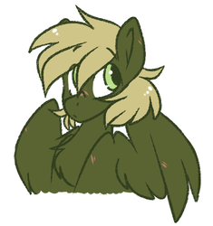 Size: 400x425 | Tagged: safe, artist:crimmharmony, oc, oc only, oc:murky, pegasus, pony, fallout equestria, fallout equestria: murky number seven, bust, fanfic art, looking up, male, scar, simple background, solo, stallion, white background