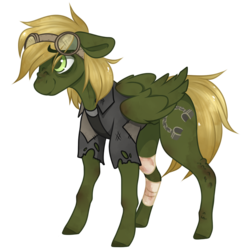 Size: 900x900 | Tagged: safe, artist:crimmharmony, oc, oc only, oc:murky, pegasus, pony, fallout equestria, fallout equestria: murky number seven, bandage, dirty, duster, fanfic art, goggles, male, simple background, solo, stallion, standing, transparent background