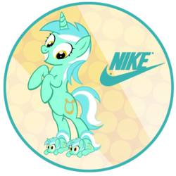 Size: 554x554 | Tagged: safe, artist:pixelkitties, artist:princemars, lyra heartstrings, clothes, lyra plushie, nike, plushie, slippers, stamp, text