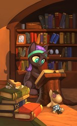 Size: 1024x1669 | Tagged: safe, artist:asimos, smarty pants, oc, oc only, oc:nyx, alicorn, pony, fanfic:glimpses, fanfic:past sins, fanfic:winter bells, alicorn oc, book, bookshelf, fanfic, fanfic art, fanfic cover, female, filly, flower, food, headband, nyxabetes, photo, reading, sandwich, solo