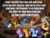 Size: 1187x905 | Tagged: safe, cozy glow, discord, grogar, lord tirek, princess luna, queen chrysalis, spike, starlight glimmer, sunset shimmer, thorax, trixie, changedling, changeling, changeling queen, draconequus, pony, unicorn, antagonist, bewitching bell, caption, changeling king, counterparts, crystal ball, end of ponies, evil lair, evil spike, female, grogar's lair, grogar's orb, hat, headcanon, image macro, king thorax, lair, m. night shyamalan, pimp hat, plot twist, text, traitor, twilight's counterparts, what a twist