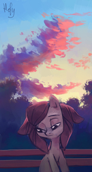 Size: 1868x3448 | Tagged: safe, artist:holivi, oc, oc only, oc:holivi, earth pony, pony, cloud, looking down, park bench, sad, signature, solo, sunset
