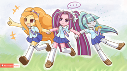 Size: 1920x1080 | Tagged: adagio dazzle, aria blaze, artist:howxu, clothes, cute, equestria girls, eyes closed, female, food, miniskirt, pigtails, pleated skirt, ponytail, safe, school uniform, shoes, skirt, socks, sonata dusk, taco, the dazzlings, thigh highs, twintails, zettai ryouiki