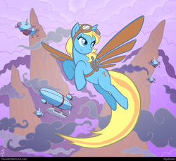 Size: 2193x2000 | Tagged: safe, artist:leo david, oc, oc only, oc:skydreams, pony, unicorn, airship, artificial wings, augmented, aviator goggles, celestial dawn, female, flight, flying, goggles, mare, royal equestrian skyguard, scout, wings