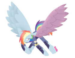 Size: 792x612 | Tagged: safe, artist:vanillaswirl6, rainbow dash, pony, the cutie re-mark, alternate timeline, alternate universe, amputee, artificial wings, augmented, crystal war timeline, mechanical wing, old art, prosthetic limb, prosthetic wing, prosthetics, simple background, solo, spread wings, transparent background, wings