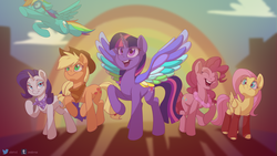 Size: 2835x1595 | Tagged: safe, artist:elstiv, applejack, fluttershy, pinkie pie, rainbow dash, rarity, twilight sparkle, alicorn, earth pony, pegasus, pony, unicorn, rainbow roadtrip, bandana, clothes, colored wings, cowboy hat, cute, eyes closed, goggles, handkerchief, hat, leg warmers, leggings, lei, mane six, multicolored wings, neckerchief, open mouth, rainbow wings, raised hoof, shyabetes, stetson, twilight sparkle (alicorn), wing bling, wings