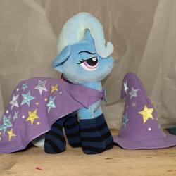 Size: 1080x1078 | Tagged: safe, trixie, 4de, cape, clothes, hat, irl, photo, plushie, socks, solo, striped socks, trixie's cape, trixie's hat