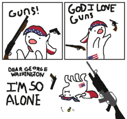 Size: 668x629   Tagged: safe, artist:czu, liberty belle, pony, 4th of july, american flag, assault rifle, george washington, grenade, gun, handgun, holiday, i'm so alone, m16, m1911, m203, m67 grenade, murica, revolver, rifle, sawn off shotgun, shotgun, this will end in death, underbarrel grenade launcer, united states, weapon