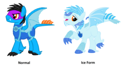 Size: 3120x1756   Tagged: safe, artist:ds59, oc, oc only, oc:artic flare, oc:dragun shot, dracony, hybrid, ice pony, pony, ice, mask, power ponies oc, solo, superhero