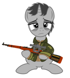 Size: 1136x1266 | Tagged: artist:darkstorm619, bullet, clothes, gun, holding, jacket, mosin nagant, oc, oc:dossier, safe, simple background, solo, tired, transparent background, unicorn, weapon