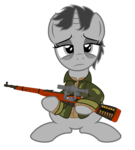 Size: 1136x1266 | Tagged: safe, artist:darkstorm619, oc, oc:dossier, pony, unicorn, bullet, clothes, gun, holding, jacket, mosin nagant, simple background, solo, tired, transparent background, weapon