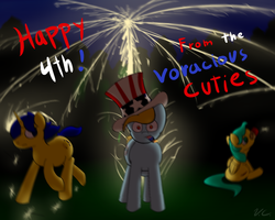 Size: 1500x1200 | Tagged: 4th of july, artist:voraciouscutie, fire, fireworks, holiday, oc, oc:blueberry crepe, oc:dutchie mills, oc:frozen star, safe, this will end in explosions, this will end in pain, this will not end well