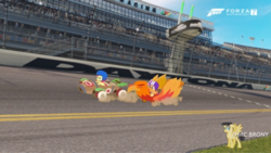 Size: 750x422 | Tagged: apple bloom, artist:forzaveteranenigma, daytona international speedway, daytona usa, florida, forza motorsport 7, irl, photo, ponies in real life, pony, race track, safe, scootaloo, the cart before the ponies, united states, watermark