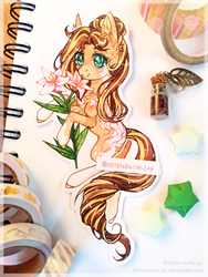 Size: 2976x3968 | Tagged: safe, artist:kitten-in-the-jar, oc, oc:radiant valor, earth pony, pony, female, flower, lily (flower), mare, solo, traditional art