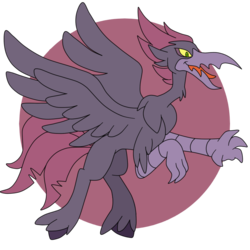 Size: 800x800 | Tagged: safe, artist:perfectpinkwater, classical hippogriff, hippogriff, classical hippogriffied, hippogriffied, male, metroid, ridley, simple background, species swap, super smash bros.