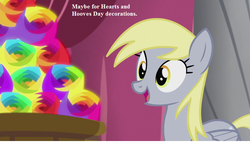 Size: 800x485 | Tagged: cute, derpabetes, derpy hooves, flameless fireworks, safe, slice of life (episode), speech, this will end in explosions, town hall