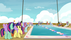 Size: 3840x2160 | Tagged: safe, screencap, chain letter (character), raspberry sorbet, star tracker, tropic heat, twilight sparkle, well-wisher, alicorn, earth pony, pegasus, pony, unicorn, once upon a zeppelin, background pony, camera, fake horn, fake wings, female, male, mare, stallion, swimming pool, twilight sparkle (alicorn), twilight wig, unnamed pony, upscaled