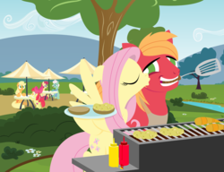 Size: 2600x2000 | Tagged: 4th of july, anonymous artist, apple bloom, applejack, apron, big macintosh, bun (food), burger, carrot, carrot dog, clothes, eyes closed, female, fluttermac, fluttershy, food, gentle breeze, grill, hatless, hay burger, heart, high res, holiday, hoof hold, ketchup, kissing, kiss on the cheek, lineless, male, missing accessory, mouth hold, mustard, no pupils, oat burger, oats, posey shy, safe, sauce, series:fm holidays, shipping, smiling, spatula, straight