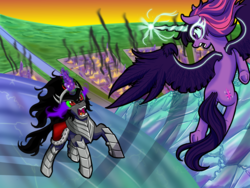 Size: 2000x1500 | Tagged: alicorn, artist:redahfuhrerking, crystal empire, equestria girls, fire, king sombra, midnight sparkle, pony, princess midnight, safe, twilight sparkle, twilight sparkle (alicorn), umbrum