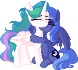Size: 7052x6356 | Tagged: absurd res, alicorn, artist:cyanlightning, awww, closed eye, cute, duo, ear fluff, eyes closed, female, holding, hug, mare, missing accessory, pony, princess celestia, princess luna, safe, siblings, simple background, sisterly love, sisters, sitting, smiling, standing, .svg available, transparent background, vector, weapons-grade cute