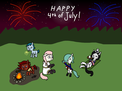 Size: 4048x3036 | Tagged: 4th of july, campfire, clothes, colt quest, continental army, femboy, fireworks, holiday, kebab, male, missing cutie mark, oc, oc:emerald jewel, oc:hope blossoms, oc:joyride, oc:larimar, oc:ruby rouge, safe, sparkler (firework), towel, uniform